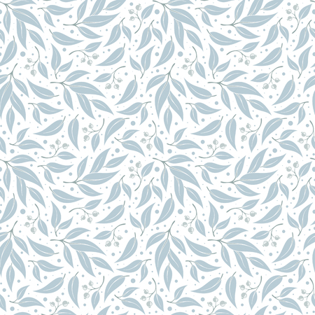 Seamless pattern branches of eucalyptus. Vector illustration. Blue floral background