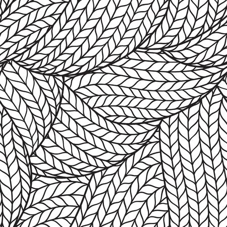 추상 단색 손으로 물결 선으로 추상 원활한 패턴을 그린 일러스트