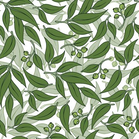 Seamless green leaf pattern. Eucalyptus leaves background.