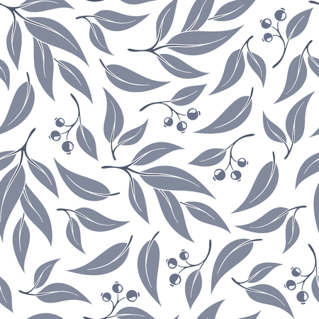 Seamless pattern branches of eucalyptus. Vector illustration.Grey floral background Illustration