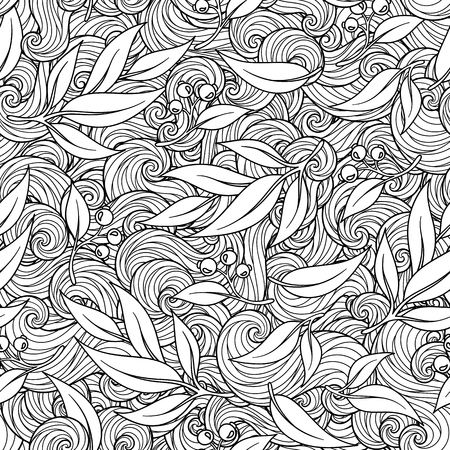fission: Vector background with sketch botanical branches in vintage style texture. Coloring book for adult