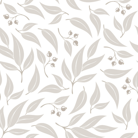 A seamless pattern branches of eucalyptus. Vector illustration. Beige floral background