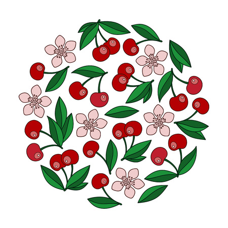 Hand drawn  berries  Doodle Fruit on White Background : Vector Illustration