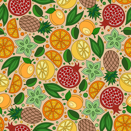 limon caricatura: Food background. Doodle Fruits and Berries Seamless pattern. Vector illustration Vectores