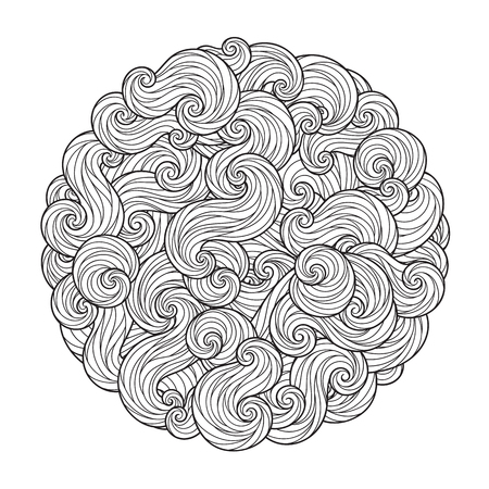 Abstract Round Sea Wave Mandala with curls, swirls, hairs isolated on white background. Coloring book for adult and older children. Editable vector illustration. Illustration
