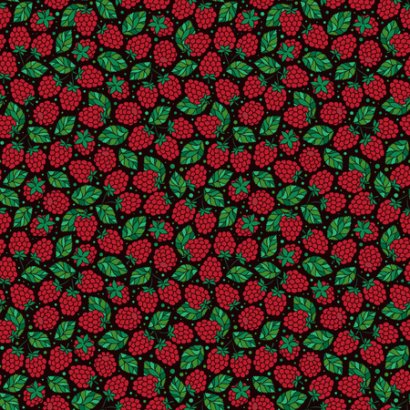 Seamless vector pattern with hand drawn raspberry on black  background. Doodle hand drawn isolated raspberry pattern on white background