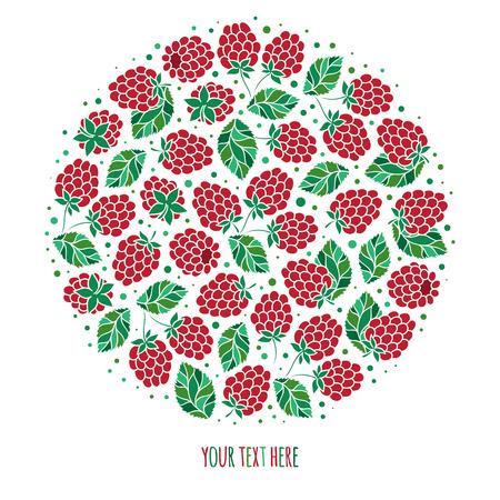 自然の果物とベリー新鮮なラズベリーとシンボルをラウンドします。食品、ジュース包装またはファーム市場デザイン  イラスト・ベクター素材