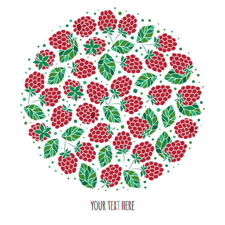 Natural fruits and berries round symbol with fresh  raspberry. Food and juice packaging or farm market design Ilustrace