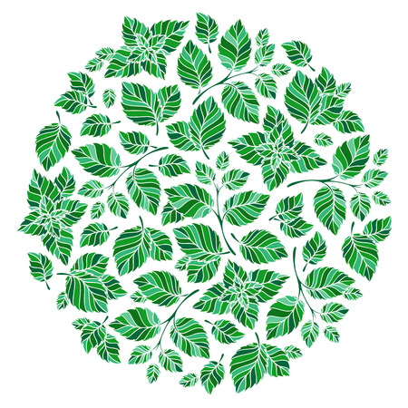 floral round pattern wreath  natural design with leaves. Spring summer design for invitation, wedding or greeting cards. White silhouette, mint green background. Vector Illusztráció