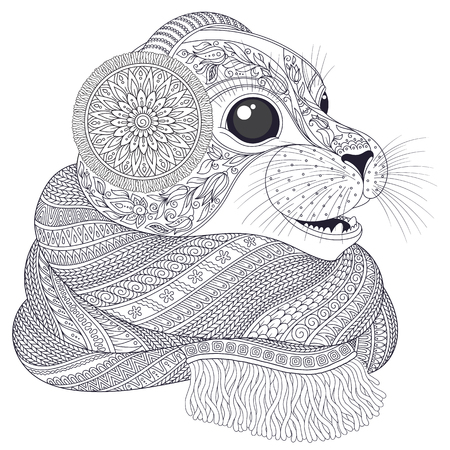 Hand drawn seal l in a scarf. Illustration