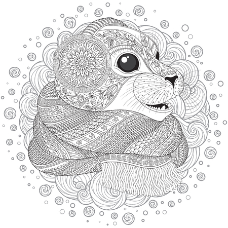 baby seal: Hand drawn seal l in a scarf  with high details for anti stress coloring page, illustration in tracery style. Sketch for tattoo, poster, print, t-shirt in zendoodle style. Vector.