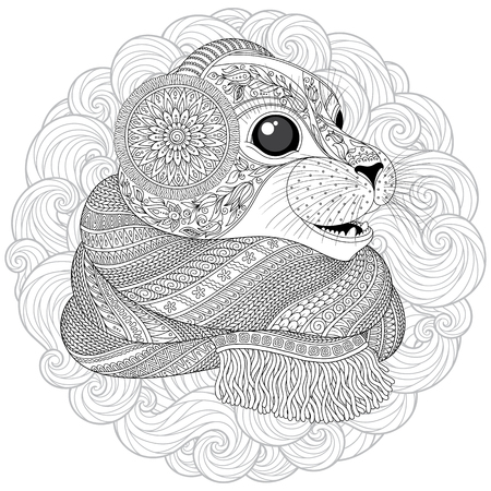 Hand drawn seal l in a scarf  with high details for anti stress coloring page, illustration in tracery style. Sketch for tattoo, poster, print, t-shirt in zendoodle style. Vector.