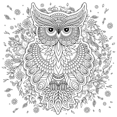 owl illustration: Coloring book for adult and older children. Coloring page with cute owl. Outline drawing in zentangle style Illustration