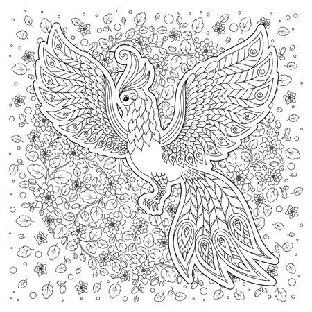 Aves Exóticas, Flores Fantásticas, Ramas, Leaves.Hand Dibuja ...
