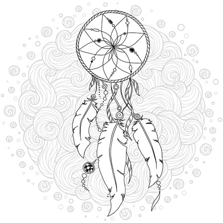 Monochrome Dream Catcher with feathers. Hand drawn vector illustration in doodle  style. Sketch for tattoo, t-shirt design, post card. Boho style