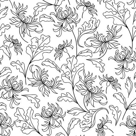 Patrón Con Flores De Crisantemo . Libro De Colorear Para Adultos ...