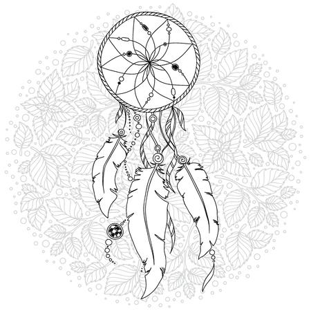 Mujer Con Las Plumas Y El Cazador De Sueños. Talismán Indio ...
