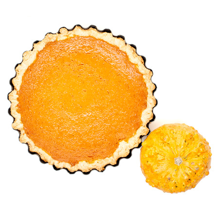 pumpkin homemade pie arranged with small pumpkins isolated on white background top view Stock Photo