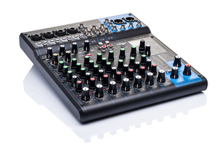 audio mixer: mixing console isolated on white background