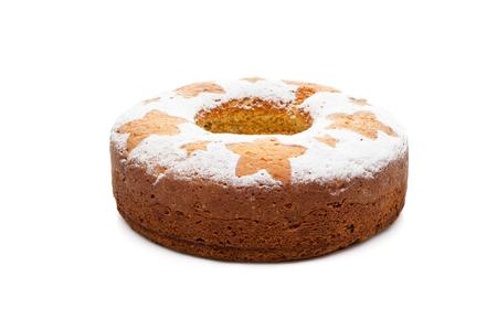 homemade traditional fruit cake isolated on white background