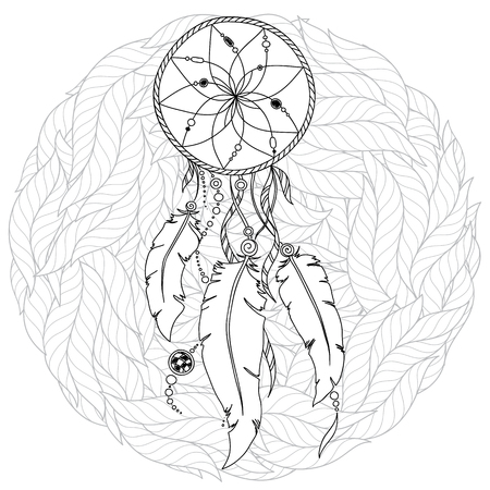 Monochrome Dream Catcher with feathers. Hand drawn vector illustration in doodle. Sketch for tattoo, t-shirt design, post card. Boho style Illustration