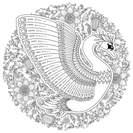 Hand drawing artistic Swan for adult coloring pages in doodle,  tribal style, ethnic ornamental patterned tattoo, logo, t-shirt or prints. Bird vector illustration. Illusztráció