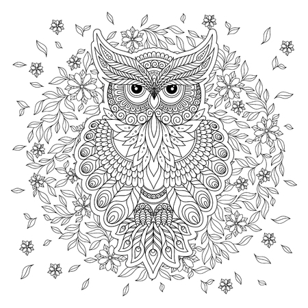 Decorative owl. Adult antistress coloring page. Black and white hand drawn illustration for coloring book Vettoriali