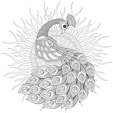 Peacock in doodle style. Adult anti-stress coloring page. Black and white hand drawn doodle for coloring book. Vettoriali