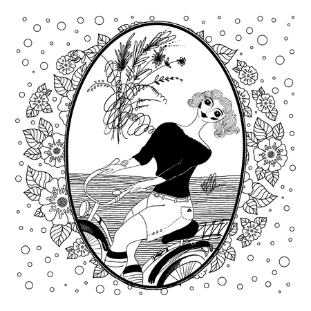 Pattern for coloring book for adult. Vintage girl rides a bicycle. Set of illustrations.