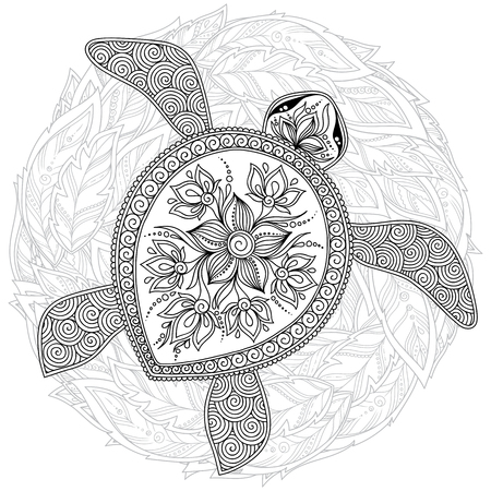 Hand drawn ink pattern. Coloring book Coloring for adult. turtle.
