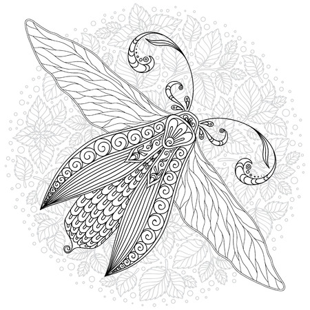 Black and white decorative vector illustration of moth isolated on white over sacred geometry lines. Tattoo design. Coloring book for adults. Nature, spirituality, occultism, alchemy, magic concept. Illustration