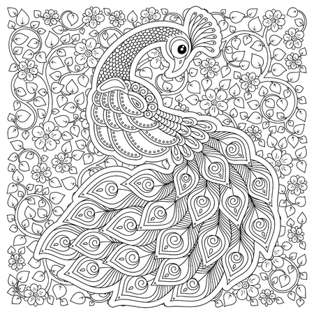 Peacock. Adult antistress coloring page. Black and white hand drawn doodle for coloring book Stock Illustratie