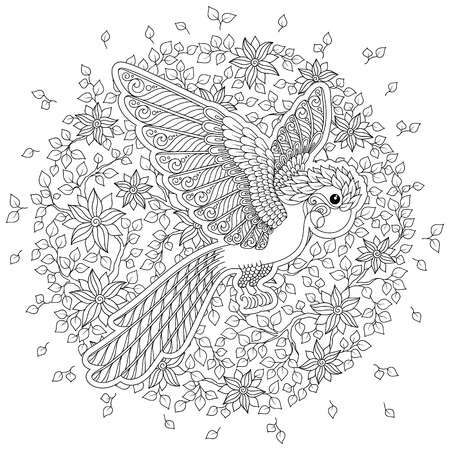 Exotic bird,fantastic flowers,branches, leaves. Contour thin line drawing. Vector fantasy stylized cockatoo jungle parrot silhouette.T-shirt print. Coloring book page for adults and children. Black White 向量圖像