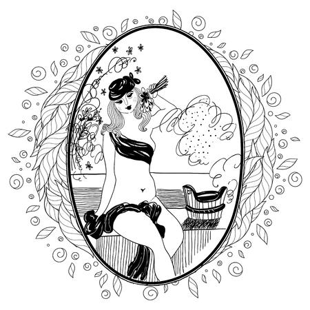 Pattern for coloring book for adult. Vintage girl in bathroom. Set of illustrations.