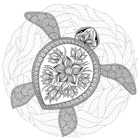 Coloring book for adults. Coloring page. Turtle with different ornaments. Hand drawn illustration in boho and style. 矢量图像