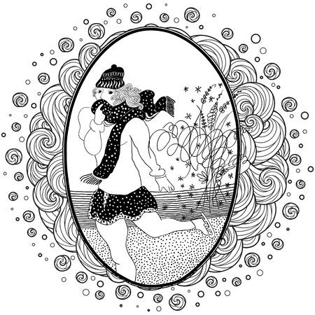 Pattern for coloring book. Vintage girl ice skates. Set of illustrations.