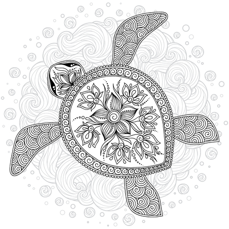 Graphic Hawksbill sea turtle drawn in line art style. Ocean vector creature isolated on white background. Top view. Coloring book page design for adults and kids