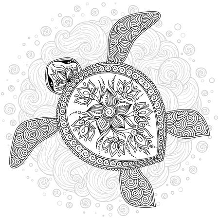 tortuga de mar carey dibujado en estilo de arte de estilo de grabado . criatura de vectores ilustración aislada sobre fondo blanco . vista superior . diseño de libro de colorear para colorear y niños