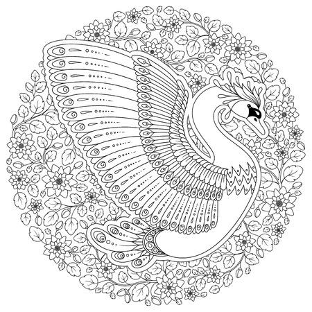 Exotic bird,fantastic flowers, leaves.Hand drawing artistic Swan for adult coloring pages in doodle .Coloring book page for adults and children. Black White Bird collection. Set of illustration.