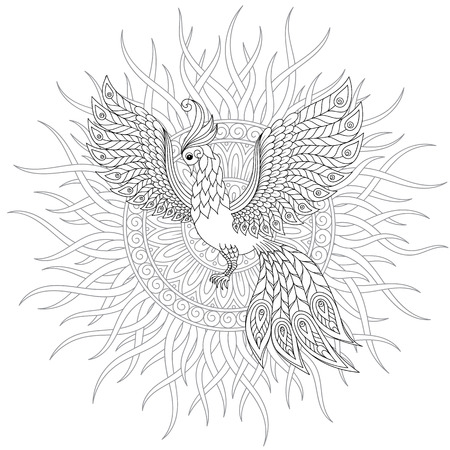 Exotic bird,fantastic flowers, leaves. Firebird for anti stress Coloring Page with high details. Coloring book page for adults and children. Black White Bird collection. Set of illustration. Stock Illustratie
