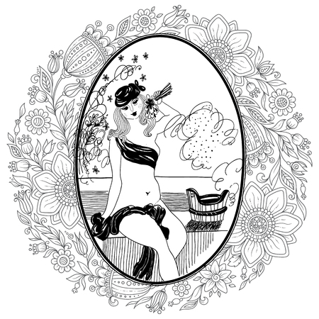 Pattern for coloring book for adult. Vintage girl in bathroom. Set of illustrations.