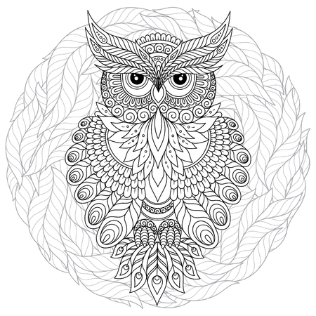 Coloring book for adult and older children. Coloring page with cute owl and floral frame. Outline drawing