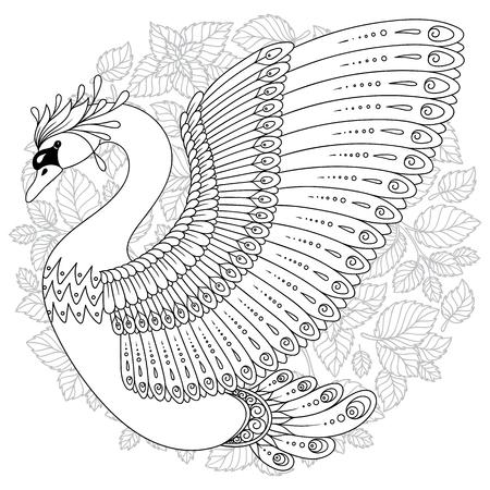 Hand tekenen artistieke zwaan voor volwassen kleurende pagina's in doodle, tribale stijl, etnische sierpatroon tatoeage, logo, t-shirt of prints. Vogel vectorillustratie.