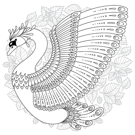 Hand drawing artistic Swan for adult coloring pages in doodle, tribal style, ethnic ornamental patterned tattoo, logo, t-shirt or prints. Bird vector illustration.