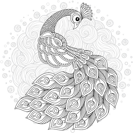 Hand drawing artistic Swan for adult coloring pages.  イラスト・ベクター素材
