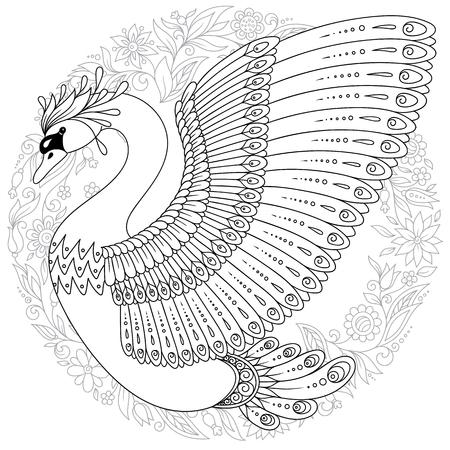 Hand tekenen artistieke zwaan voor volwassen kleurende pagina's. Vogel vectorillustratie.