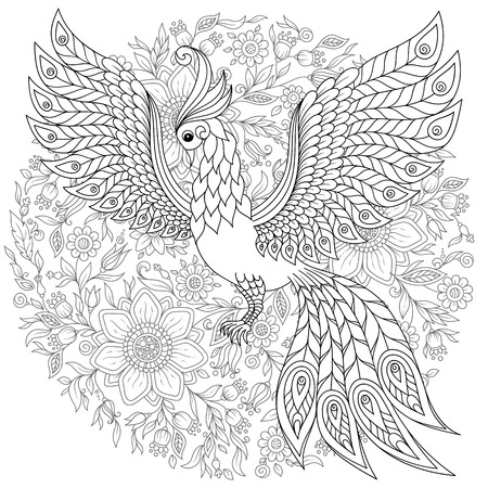Exotic bird,fantastic flowers, leaves. Firebird for anti stress Coloring Page with high details. Coloring book page for adults and children. Black White Bird collection. Set of illustration. Illustration