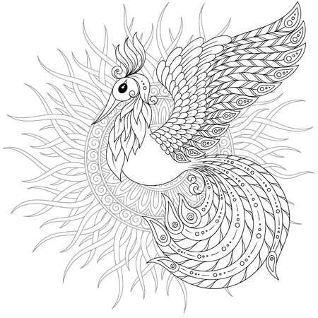 Exotic bird,fantastic flowers, leaves. Firebird for anti stress Coloring Page with high details. Coloring book page for adults and children. Black White Bird collection. Set of illustration.