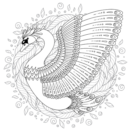 Hand drawn decorated swan in ethnic style isolated on white. Image for adult and children antistress coloring book, page, tattoo, decorate dishes, cups, porcelains, t-shirts, dresses, bags, tunics.