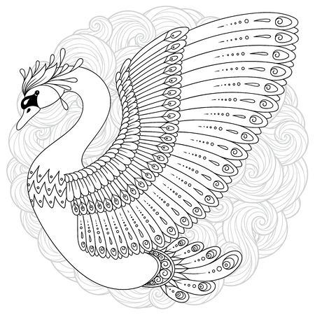 Hand drawn decorated swan with mandala isolated on white. Boho style. Image for adult coloring books, pages, tattoo, decorate dishes, cups, porcelains, shirts, dresses, bags, tunics.